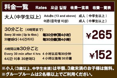 関西国際空港リフレッシュスクエア料金表