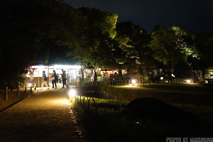 夜のライトアップされた岡山後楽園