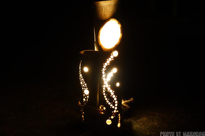 岡山後楽園の竹細工の灯篭