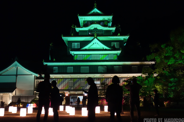 マスキングカラーにラッピングされた岡山城