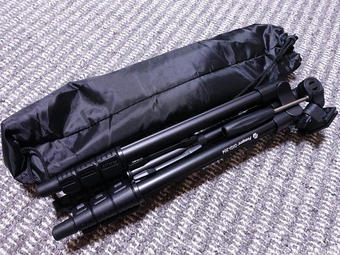 Fotopro 三脚 DIGI-204 BK 4段 小型 3WAY雲台 アルミ製 ブラック 810830本体とソフトケース