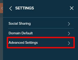 bitlyのSETTINGS画面でAdvanced Settingを選択