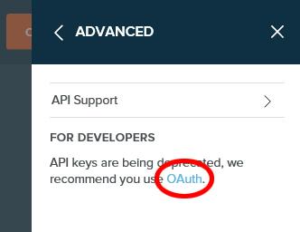 bitlyのADVANCEDの画面でOAuthをクリック