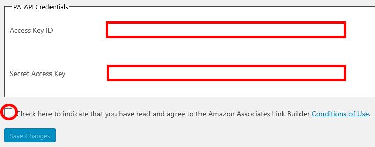 Amazon Associates Link Builderの設定画面にアクセスキーとシークレットキーを入力する