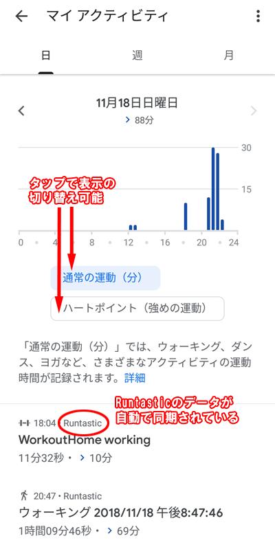 Googleフィットのアクティビティの記録