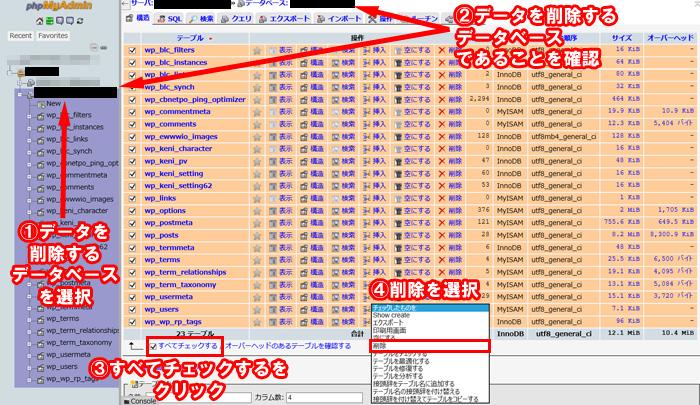 phpMyAdminでデータベースのデータを削除