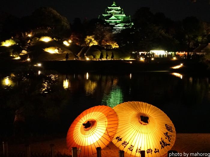 沢の池から岡山城を望む