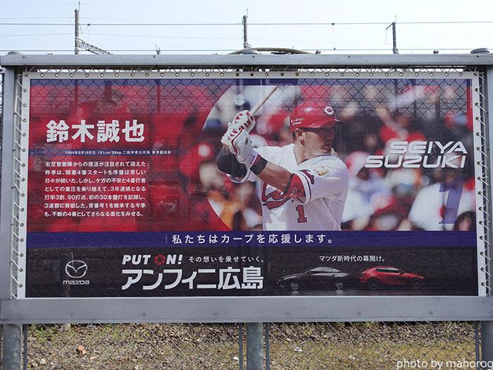 カープロードの鈴木 誠也選手の写真